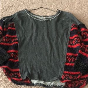 Free people grey red sweatshirt small s Knit top
